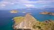 Pan LEFT Moving RIGHT Aerial Of Archipelago Around Padar Island In Komodo National Park. 4K.