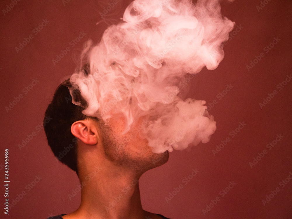 Fototapety, obrazy: Male Face Obscured by Vapor or Smoke