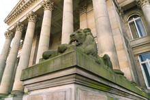 The Lion Statue In Front Of The Bolton Town Hall In England.