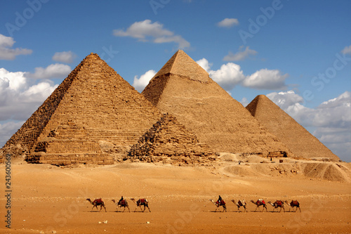 pyramids giza cairo in egypt with camel caravane panoramic scenic view