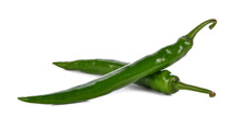 Two Green Pepper Isolated On A White Background
