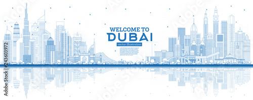Fototapeta premium Zarys Witamy w Dubaju w Zjednoczonych Emiratach Arabskich z niebieskimi budynkami i odbiciami.