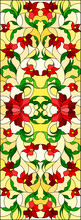 Illustration In Stained Glass Style With Abstract Curly Red  Flowers  On Yellow Background ,vertical Image