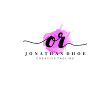 O R Initial Watercolor Logo On...