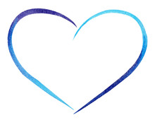Watercolor Hand Painted Blue Heart. Symbol Of Love.