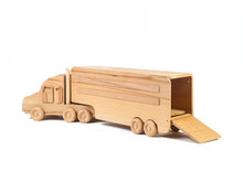 Photo Of A Wooden Car Truck Made Of Beech On A White Isolated Background