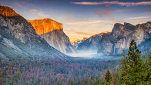 Sunset At Yosemite Valley Seen From Tunnel View