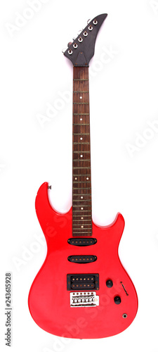 Red electric guitar with white backdrop. Wallpaper Mural