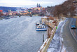Prague, Czech Republic, Vltava Embankment. View of Hradcany Castle with St. Vitus Cathedral.