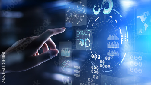 Business intelligence Marketing strategy Trading investment application on virtual screen Wallpaper Mural
