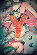 Lots Off Old Painted Wooden Letters  With The Capital Letter Y