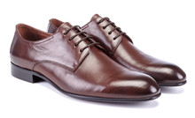 Dark Brown Men Oxfords Shoes From Leather On White