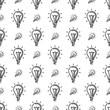 Bulb Icon, Idea Icon, Lamp Icon Seamless Pattern