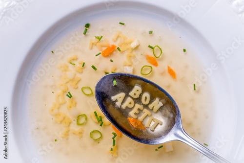 Buchstabensuppe bon apetit Fototapeta