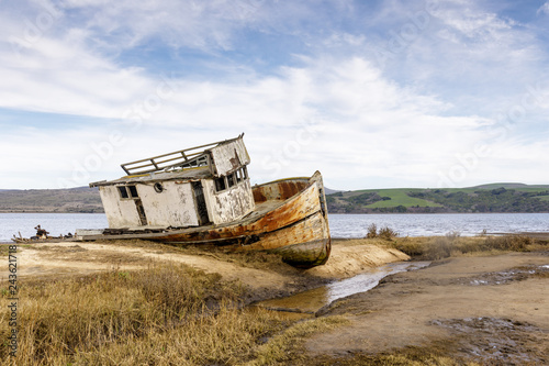 Point Reyes Ship wreck on the shore of Tomales Bay in Point Reyes National Seashore. Inverness, Marin County, California, USA.