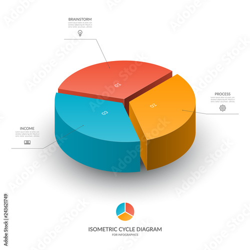 Fotomural Isometric cycle diagram for infographics