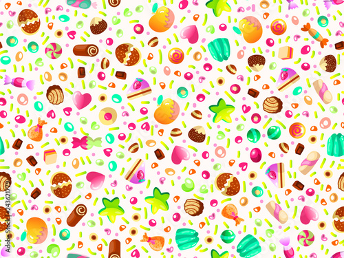 fototapeta na ścianę Cute seamless pattern with colorful sweets, cakes, lollipops. Cartoon seamless pattern with candy and sweet dessert. Fun colorful sweet pattern with candy, ice cream, round lollipops. Candy pattern