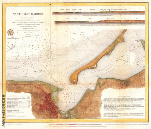 1866, U.S. Coast Survey Map of Nantucket Harbor, Nantucket ...