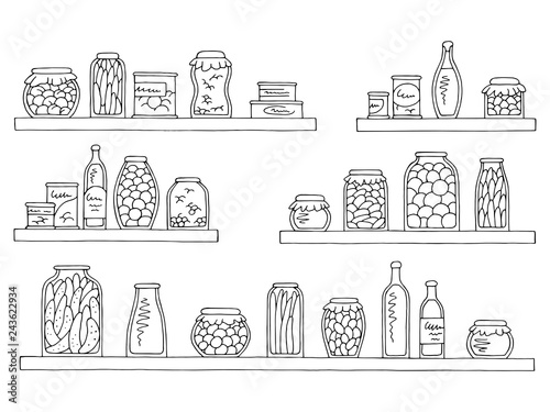 Shelves set graphic black white isolated sketch can food ...