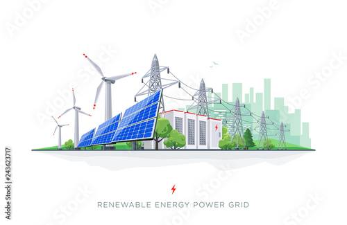 Renewable energy smart power grid system. Flat vector illustration of solar panels, wind turbines, battery storage, high voltage electricity power transmission grid and city skyline.