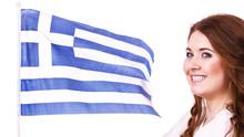 Woman With Greek Waving Flag, ...