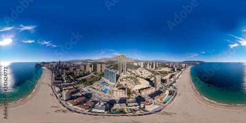 360 degree sphere aerial panoramic photo taken in Benidorm Alicante in Spain, drone 360 degree photo Wallpaper Mural