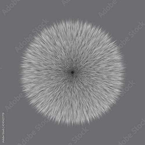 Fotografía  Gray Fluffy Hair Pom, 3D illustration on Gray