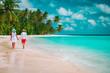 happy loving couple walk on beach vacation