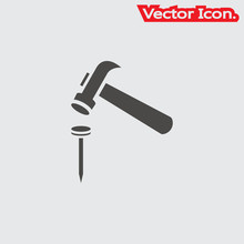 Hammer And Nails Icon Isolated Sign Symbol And Flat Style For App, Web And Digital Design. Vector Illustration.