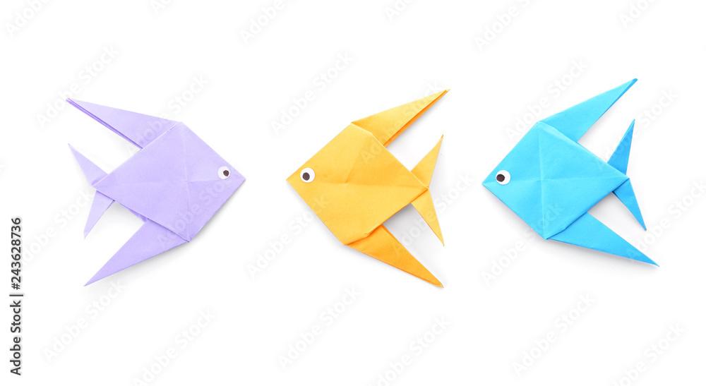 Fototapeta Origami fish on white background