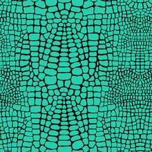 Vector Seamless Pattern With Realistic Crocodile Or Alligator Skin. Green Leather Wallpaper. Animalistic Background.