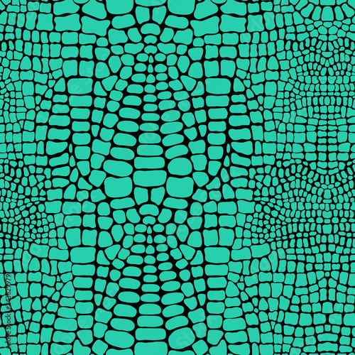 fototapeta na lodówkę Vector seamless pattern with realistic crocodile or alligator skin. Green leather wallpaper. Animalistic background.