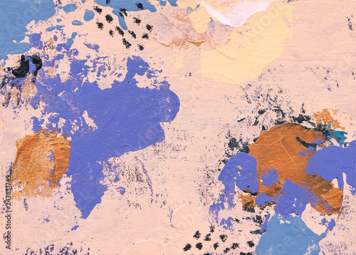 Photo Stands World Map Contemporary Abstract Painting Art