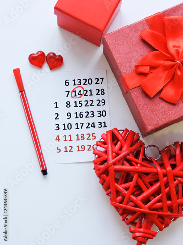 Calendar page with the red hearts on February 14 of Saint Valentines day Canvas Print