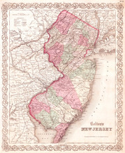 Old Map Of New Jersey, 1855, C...