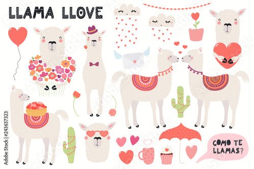 In de dag Illustraties Big Valentines day set with cute funny llamas, hearts, text, Spanish Como te llamas, Whats you name. Isolated objects on white. Hand drawn vector illustration. Flat design. Concept for children print