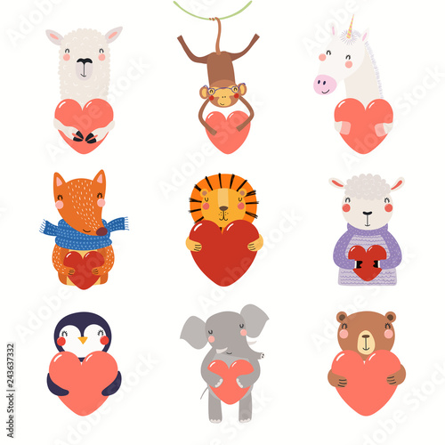 Deurstickers Illustraties Big Valentines day set with cute funny animals holding hearts. Isolated objects on white background. Hand drawn vector illustration. Scandinavian style flat design. Concept for card, children print.