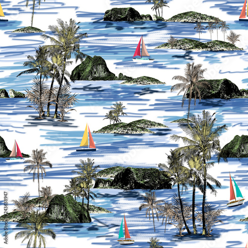 Fototapeten Künstlich Beautiful seamless island pattern. Summer trends bright seamless colorful island pattern on white background. Landscape with palm trees, beach, sailing ship and ocean brush hand drawn style.