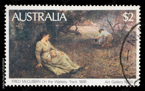 Photographie  Stamp printed in Australia shows the On the Wallaby Track (1896), by Fred McCubb