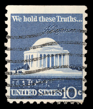 Stamp Printed In USA Shows Thomas Jefferson Memorial And Signature, Circa 1973