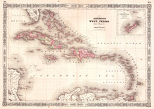 Old Map Of The West Indies And...