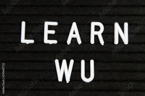 Learn WU CHinese, simple sign on black background, great for teachers, schools, Wallpaper Mural
