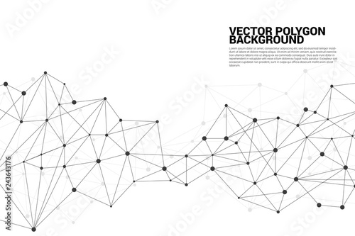Obraz Network Connecting dot polygon background. Concept of Network Business, technology, Data and chemical. Dot connect line abstract background represent futuristic network and data transformation - fototapety do salonu