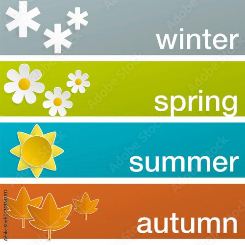 Fotografie, Obraz  Four seasons horizontal banners, color
