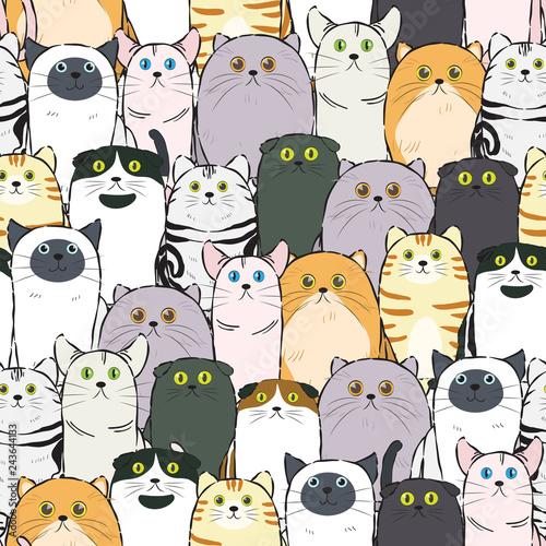 obraz lub plakat cat pattern seamless