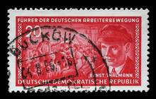 Stamp Printed In GDR (East Germany) Shows Ernst Telman (1886-1944), Leader Of The Communist Party Of Germany, Circa 1955