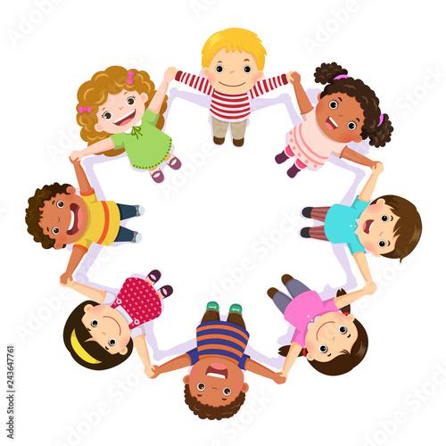 Cuadros en Lienzo Children holding hands in a circle