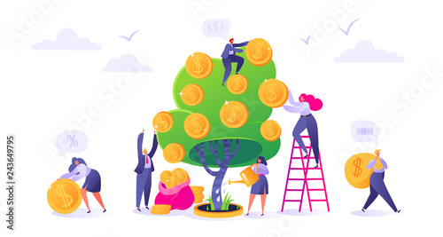Fotografía  Makin money business investment with flat people characters