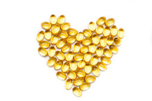 Heart Shape Of Fish Oil, Soft Capsule, Omega, Supplement Isolated On White Background, Healthy Product Concept