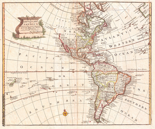 Map of North America and South America, Western Hemisphere, 1747 Bowen Fototapet